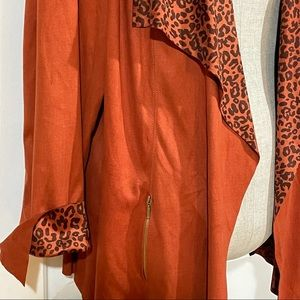 VEX Collection Leopard Print Faux Suede Cardigan